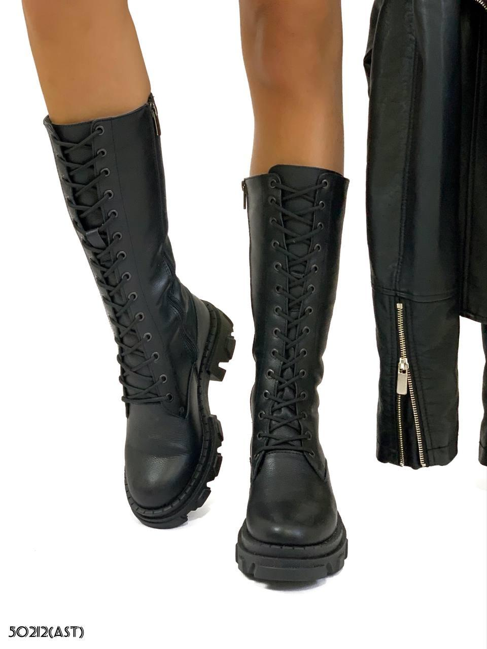 Сапоги демисезон Sasha черная кожа на шнуровке В наличии и под заказ