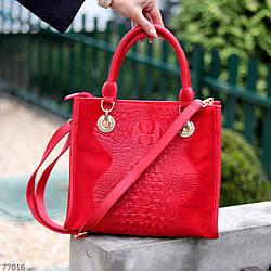 Яскрава червона фактурна квадратна замшева сумка натуральна замша