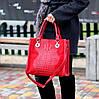 Яркая красная фактурная квадратная замшевая женская сумка натуральная замша, фото 8