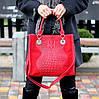 Яркая красная фактурная квадратная замшевая женская сумка натуральная замша, фото 9