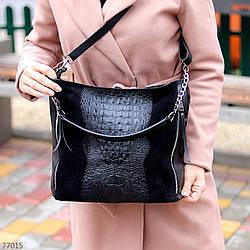 Черная фактурная квадратная замшевая женская сумка натуральная замша с длинными ручками