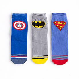 """Набір дитячих шкарпеток з 3 пар з принтом """"Супермен, Бетмен, Марвел"""" 1-2, 3-4, 4-5 років"""
