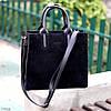 Крута чорна квадратна замшева сумка натуральна замша з довгими ручками, фото 5