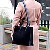 Крутая черная квадратная замшевая женская сумка натуральная замша с длинными ручками, фото 8