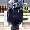 Крута чорна квадратна замшева сумка натуральна замша з довгими ручками, фото 6