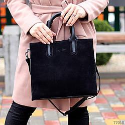 Крутая черная квадратная замшевая женская сумка натуральная замша с длинными ручками