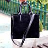 Крута чорна квадратна замшева сумка натуральна замша з довгими ручками, фото 7