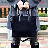 Крутая черная квадратная замшевая женская сумка натуральная замша с длинными ручками, фото 2