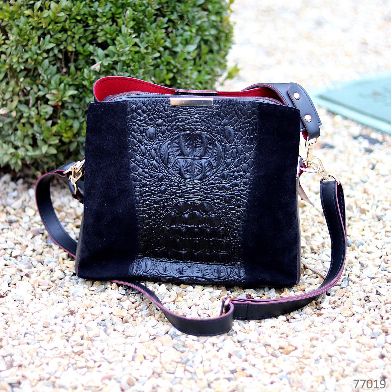 Крутая черная фактурная замшевая женская сумка натуральная замша с длинными ручками