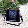 Крутая черная фактурная замшевая женская сумка натуральная замша с длинными ручками, фото 6