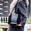 Крутая черная фактурная замшевая женская сумка натуральная замша с длинными ручками, фото 8