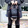 Крутая черная фактурная замшевая женская сумка натуральная замша с длинными ручками, фото 7