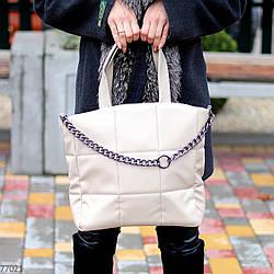 Стильна бежева зручна дорожня сумка Тоут через плече з короткими ручками