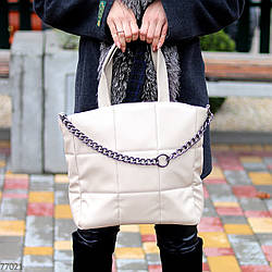 Стильная бежевая удобная дорожная сумка Тоут через плечо с короткими ручками