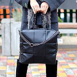 Стильна чорна зручна дорожня сумка Тоут через плече з короткими ручками