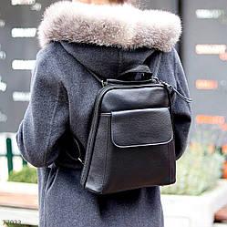 Городская черная женская Сумка-Рюкзак трансформер длинный ремешок регулируется