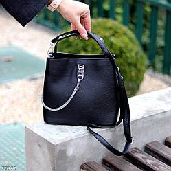 Зручна міська жіноча чорна міні сумка почтальонка крос боді через плече