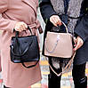 Удобная городская женская черная мини сумка почтальонка кросс боди через плечо, фото 8
