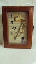 Ключниця настінна дерев'яна «Jazz band» розмір 25*18*7