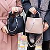 Зручна міська бежева жіноча міні сумка почтальонка крос боді через плече, фото 4