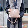 Зручна міська бежева жіноча міні сумка почтальонка крос боді через плече, фото 5