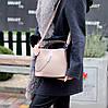 Зручна міська бежева жіноча міні сумка почтальонка крос боді через плече, фото 7