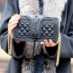 Брендовий чорна жіноча міні сумка клатч крос боді через плече