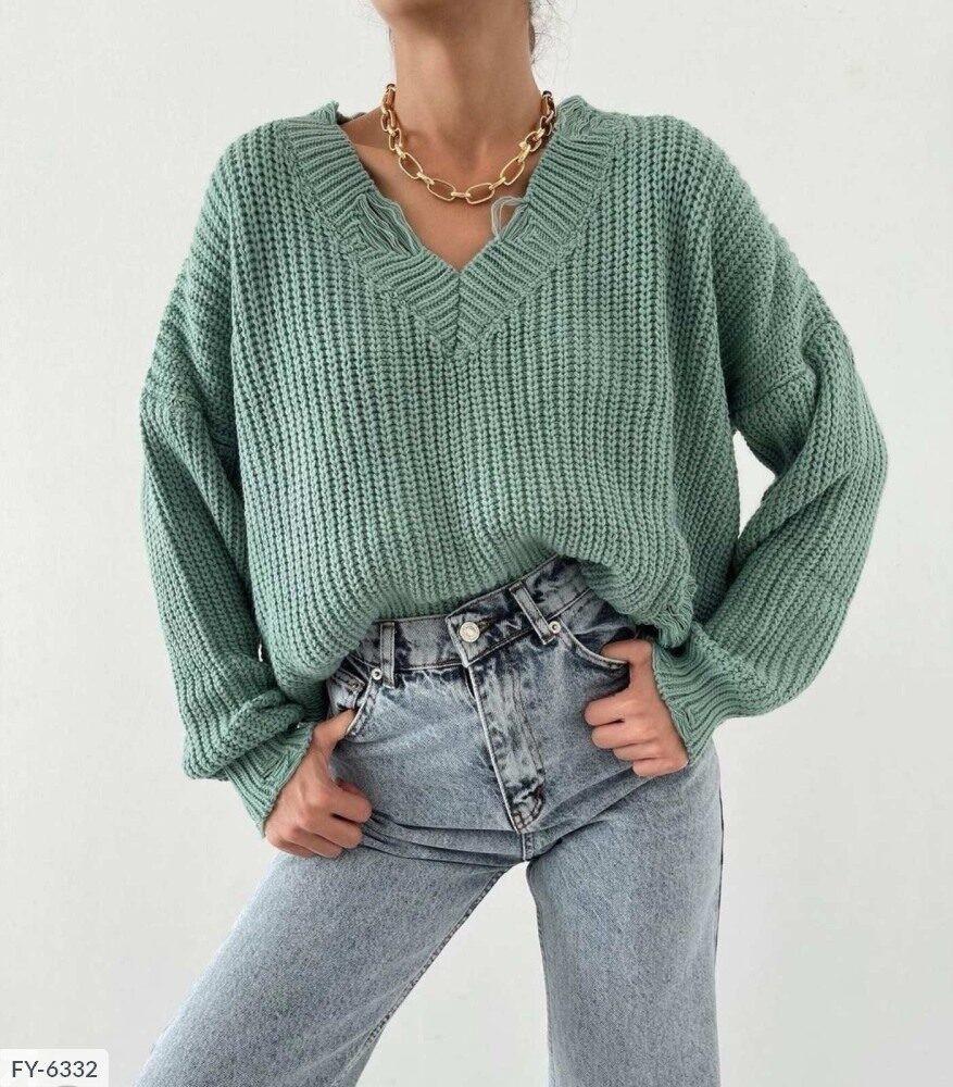 Женский свитер с v-образным вырезом машинной вязки, 42-46, белый, фиалка, олива, черный