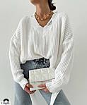 Женский свитер с v-образным вырезом машинной вязки, 42-46, белый, фиалка, олива, черный, фото 2