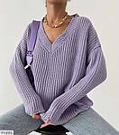 Женский свитер с v-образным вырезом машинной вязки, 42-46, белый, фиалка, олива, черный, фото 4