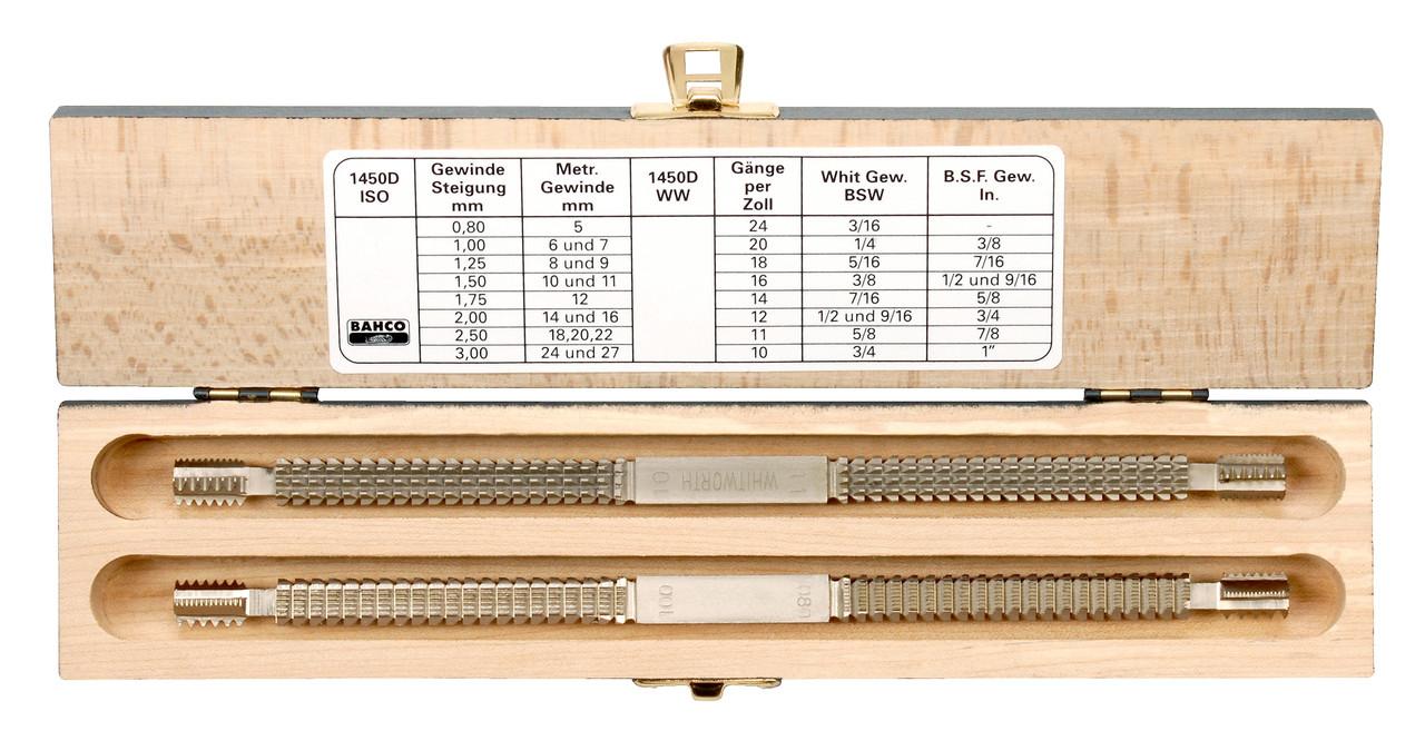 Екстрактори, Набір відновників двухзаходной різьблення, метричної та дюймової, Bahco, 1450D/2