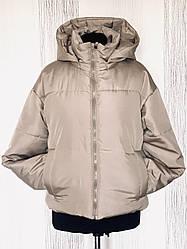 Демісезонна жіноча модна куртка укорочена з капюшоном розміри 42-52
