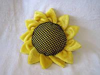 Декоративная интерьерная подушка цветок подсолнух ручная работа