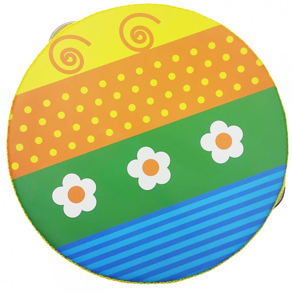 Деревянная игрушка Бубен MD 0367  15 см  (Цветочки на полосатой полянке)