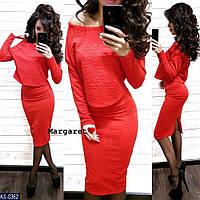 Красивый женский юбочный костюм трикотажный теплый кофта и облегающая юбка карандаш по колено арт 0365