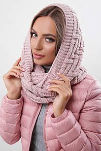 Зимовий в'язаний снуд/хомут/шарф Fong, пудра