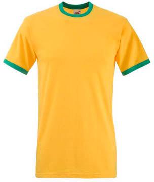 Мужская футболка желтая с зелеными манжетами 168-AM