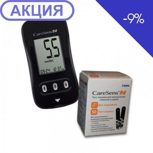 Акционный набор! Глюкометр CareSens N + тест-полоски 50шт, Корея
