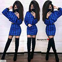 Трикотажный женский юбочный костюм укороченная кофта и короткая облегающая мини юбка арт 8235