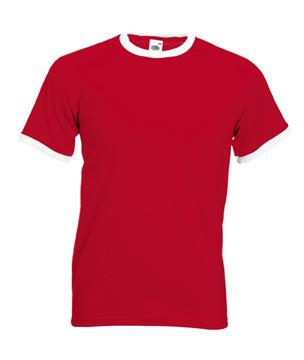 Мужская футболка красная с белыми манжетами 168-RW