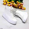 Ультра модные белые женские кроссовки хайтопы на небольшой платформе, фото 2