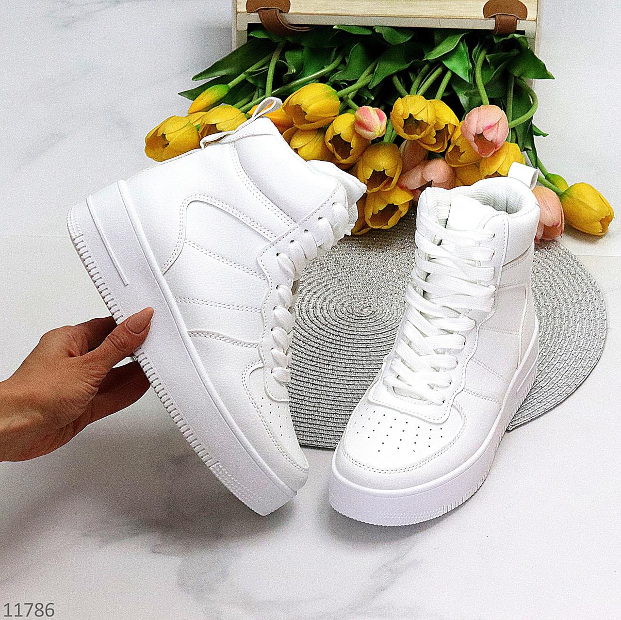Ультра модные белые женские кроссовки хайтопы на небольшой платформе