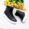 Ультра модные черные женские кроссовки хайтопы на небольшой платформе, фото 4