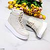 Ультра модні бежеві жіночі кросівки хайтопы на невеликій платформі, фото 2
