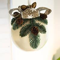 Новогодний подвесной декор, большой белый шар