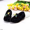 Чарівні теплі зручні плюшеві чорні жіночі мокасини автоледі, фото 4