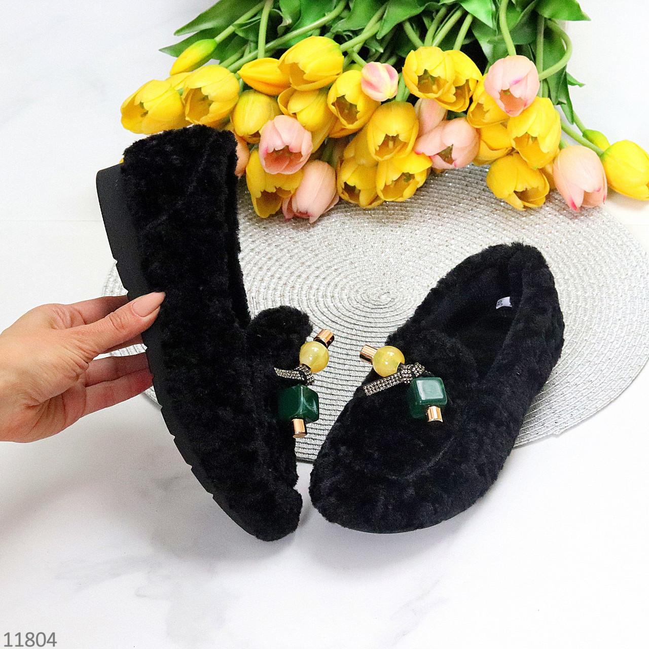 Чарівні теплі зручні плюшеві чорні жіночі мокасини автоледі