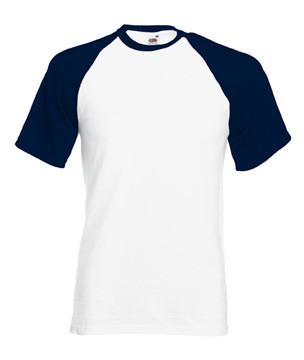 Мужская футболка хлопок белая с темно синими рукавами 026-WE