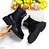 Стильні люксові молодіжні чорні жіночі черевики на флісі низький хід, фото 2