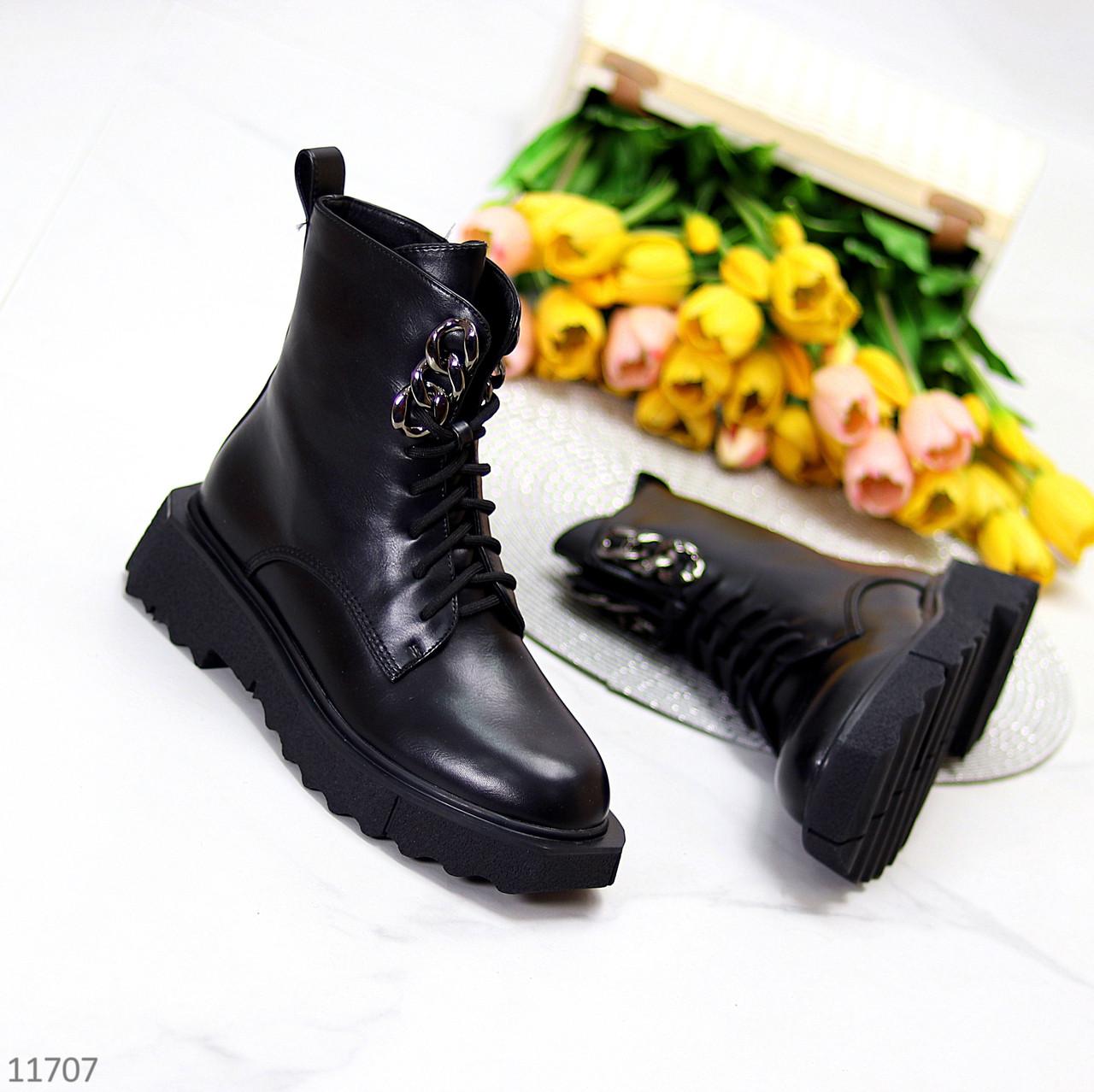 Стильні люксові молодіжні чорні жіночі черевики на флісі низький хід